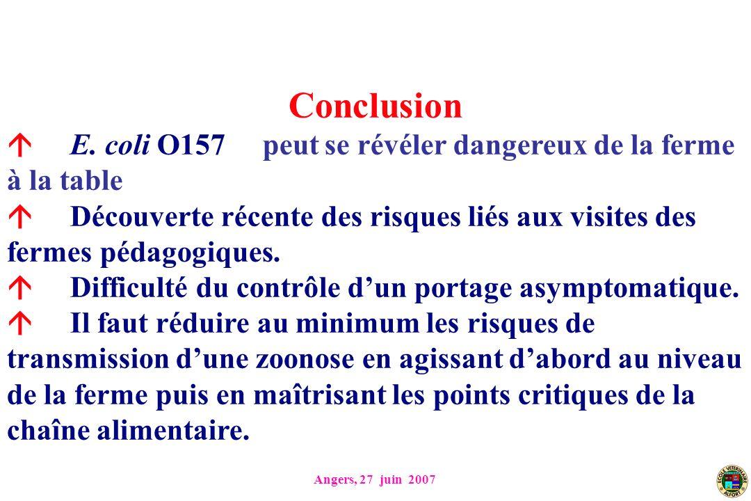 Angers, 27 juin 2007 Conclusion E. coli O157 peut se révéler dangereux de la ferme à la table Découverte récente des risques liés aux visites des ferm