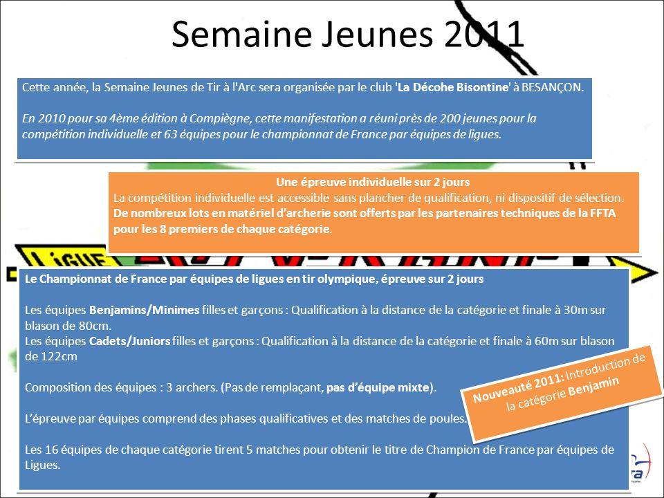 Semaine Jeunes 2011 Cette année, la Semaine Jeunes de Tir à l'Arc sera organisée par le club 'La Décohe Bisontine' à BESANÇON. En 2010 pour sa 4ème éd