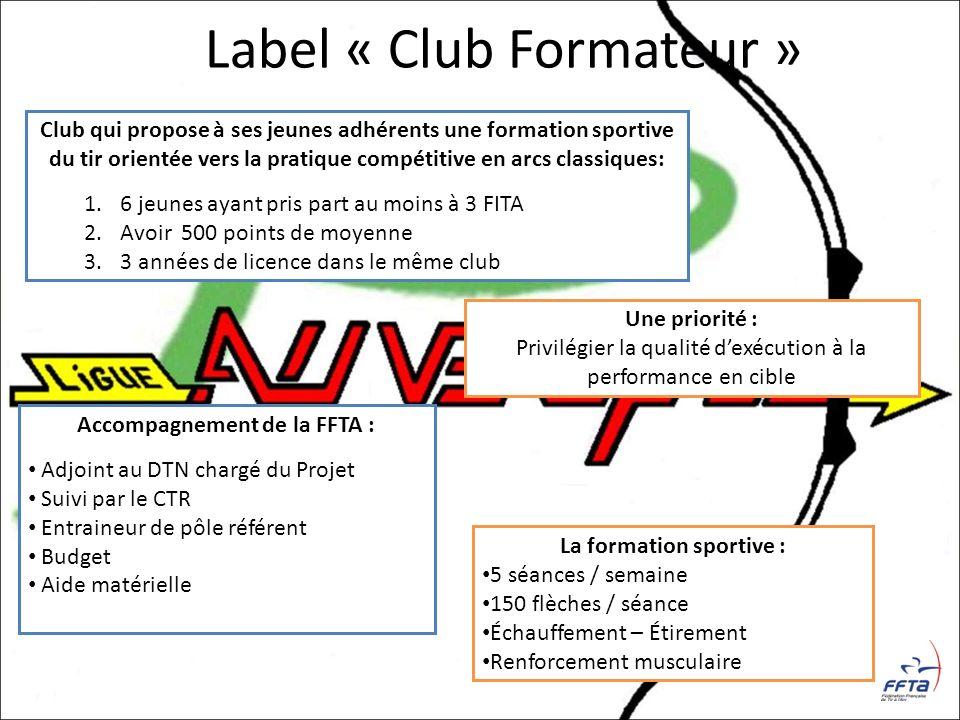 Label « Club Formateur » Club qui propose à ses jeunes adhérents une formation sportive du tir orientée vers la pratique compétitive en arcs classique