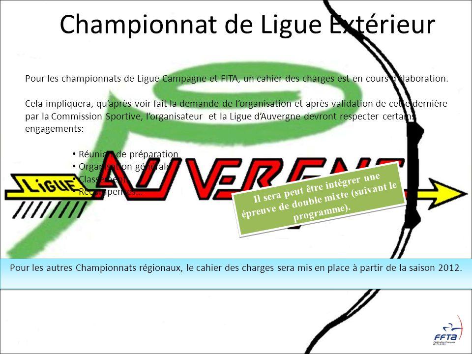 Pour les championnats de Ligue Campagne et FITA, un cahier des charges est en cours délaboration. Cela impliquera, quaprès voir fait la demande de lor