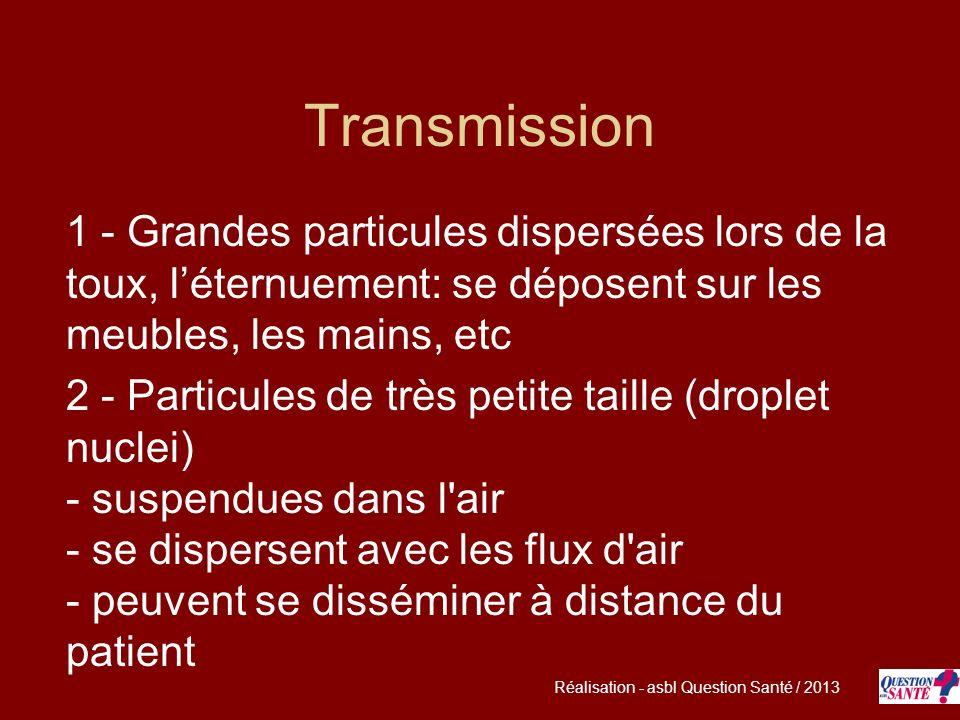 Transmission 1 - Grandes particules dispersées lors de la toux, léternuement: se déposent sur les meubles, les mains, etc 2 - Particules de très petit