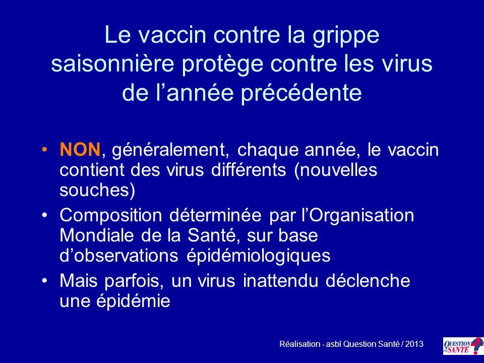 Le vaccin contre la grippe saisonnière protège contre les virus de lannée précédente NON, généralement, chaque année, le vaccin contient des virus dif