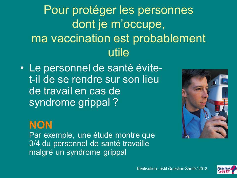 Pour protéger les personnes dont je moccupe, ma vaccination est probablement utile Le personnel de santé évite- t-il de se rendre sur son lieu de trav