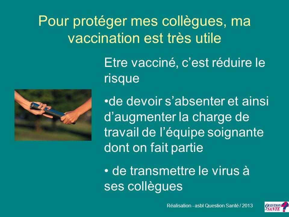 Pour protéger mes collègues, ma vaccination est très utile Etre vacciné, cest réduire le risque de devoir sabsenter et ainsi daugmenter la charge de t