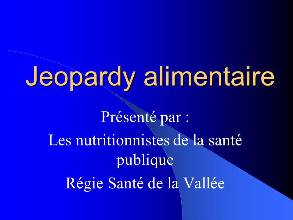 Jeopardy alimentaire Présenté par : Les nutritionnistes de la santé publique Régie Santé de la Vallée