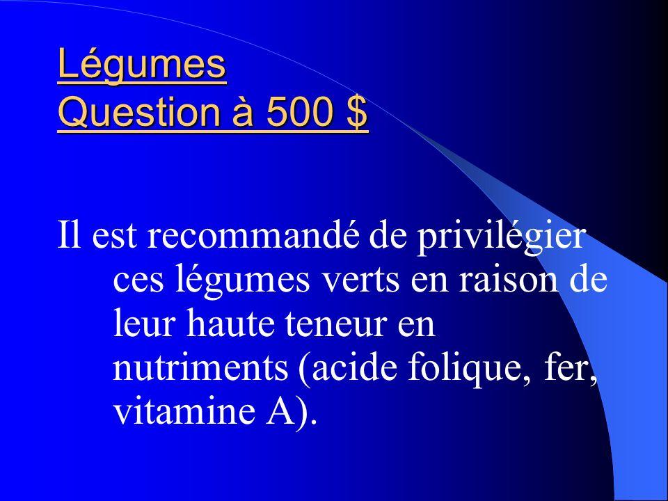 Légumes Question à 500 $ Il est recommandé de privilégier ces légumes verts en raison de leur haute teneur en nutriments (acide folique, fer, vitamine
