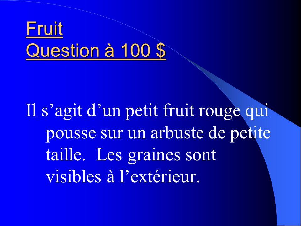 Fruit Question à 100 $ Il sagit dun petit fruit rouge qui pousse sur un arbuste de petite taille. Les graines sont visibles à lextérieur.