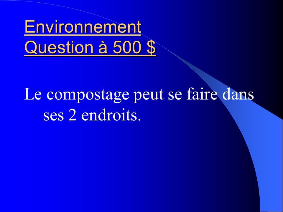 Environnement Question à 500 $ Le compostage peut se faire dans ses 2 endroits.