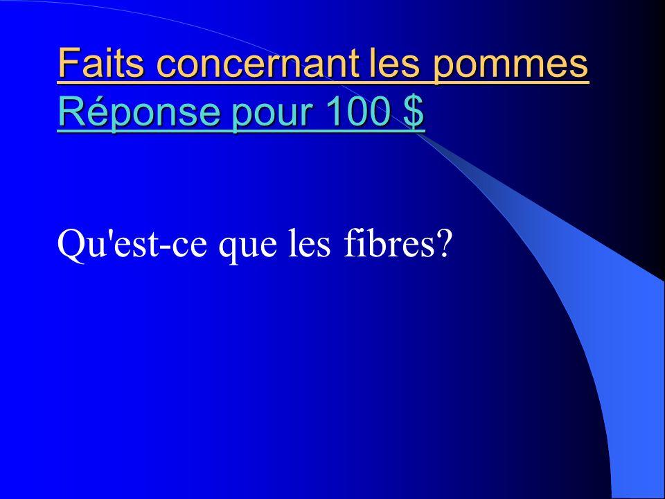 Faits concernant les pommes Réponse pour 100 $ Réponse pour 100 $ Réponse pour 100 $ Qu'est-ce que les fibres?