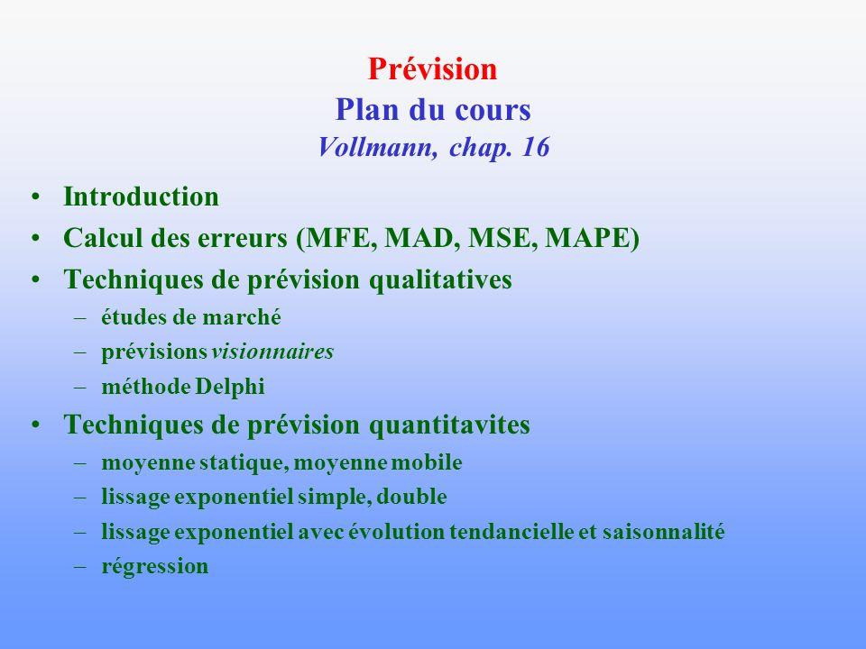 Prévision Plan du cours Vollmann, chap. 16 Introduction Calcul des erreurs (MFE, MAD, MSE, MAPE) Techniques de prévision qualitatives –études de march