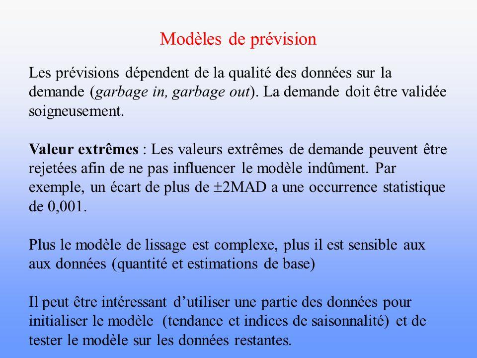 Modèles de prévision Les prévisions dépendent de la qualité des données sur la demande (garbage in, garbage out). La demande doit être validée soigneu