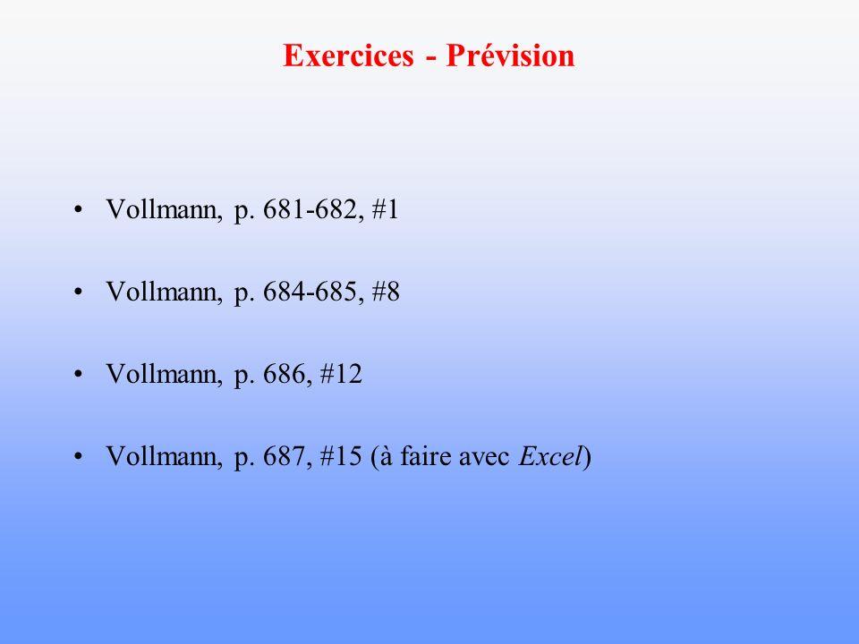 Exercices - Prévision Vollmann, p. 681-682, #1 Vollmann, p. 684-685, #8 Vollmann, p. 686, #12 Vollmann, p. 687, #15 (à faire avec Excel)