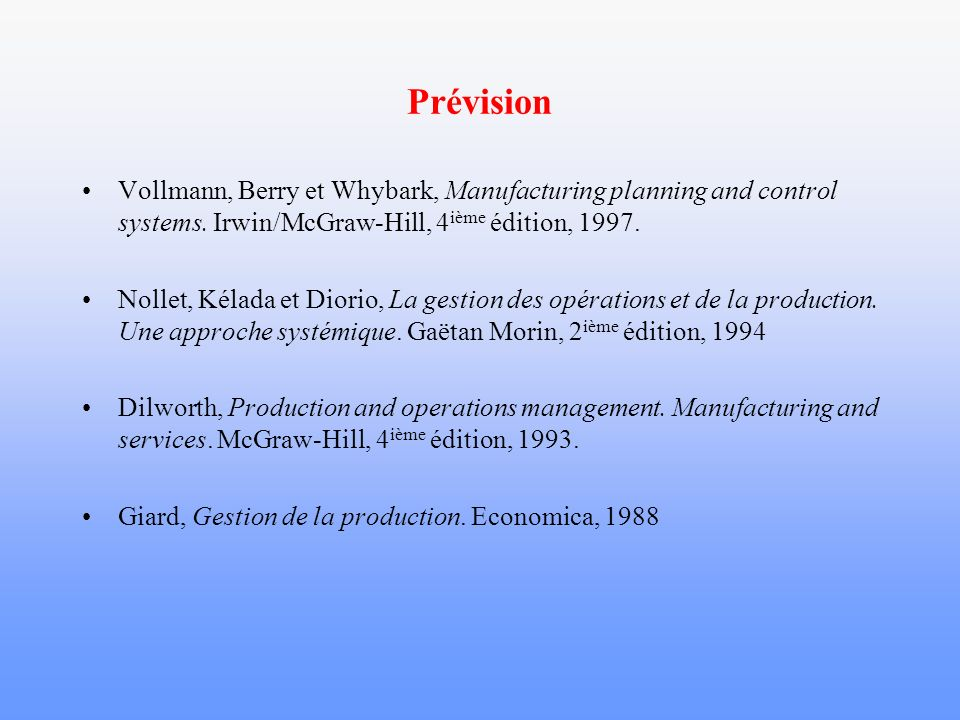 Prévision Vollmann, Berry et Whybark, Manufacturing planning and control systems.