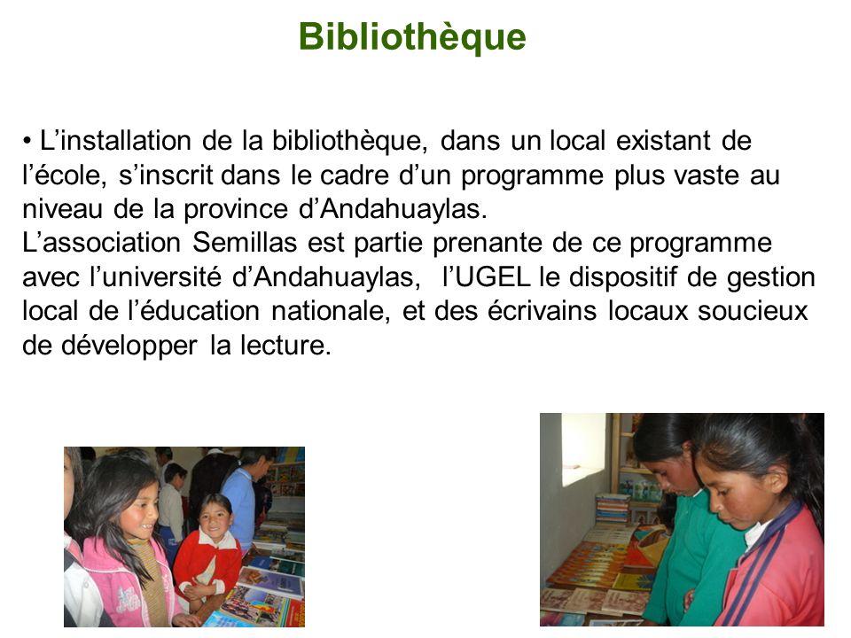 Bibliothèque Linstallation de la bibliothèque, dans un local existant de lécole, sinscrit dans le cadre dun programme plus vaste au niveau de la provi