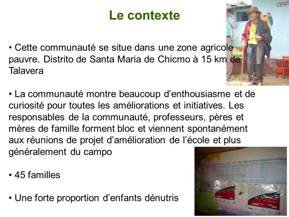 Le contexte Cette communauté se situe dans une zone agricole pauvre. Distrito de Santa Maria de Chicmo à 15 km de Talavera La communauté montre beauco