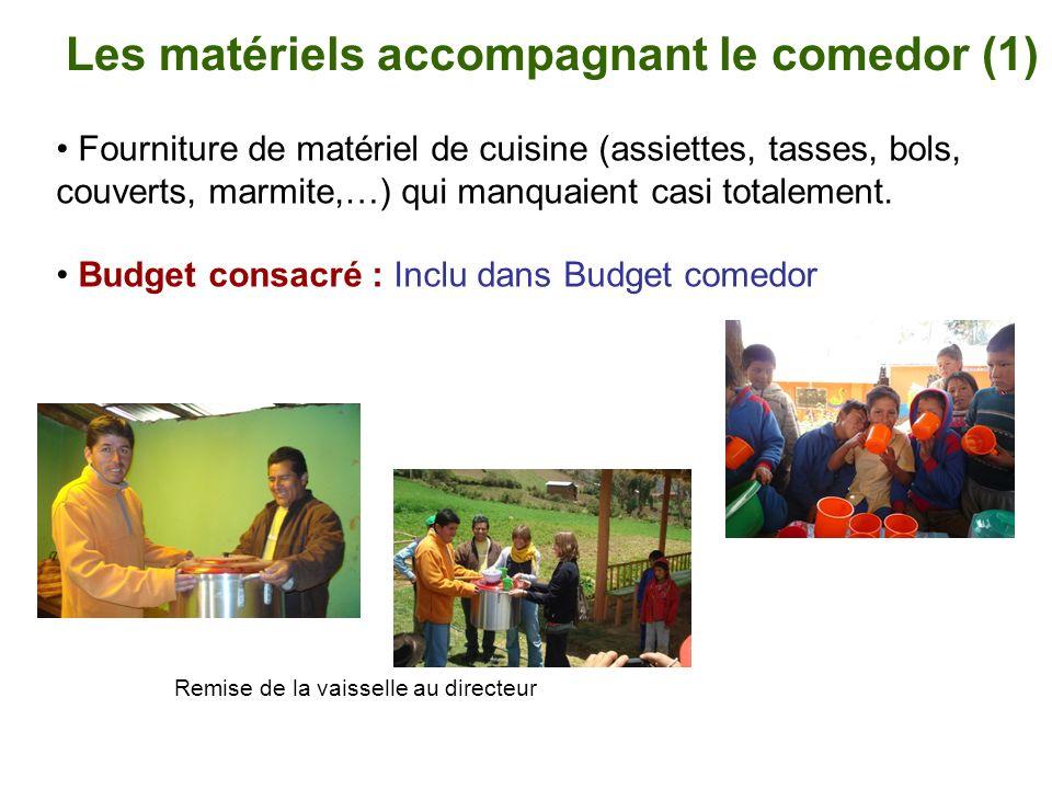 Les matériels accompagnant le comedor (1) Fourniture de matériel de cuisine (assiettes, tasses, bols, couverts, marmite,…) qui manquaient casi totalem