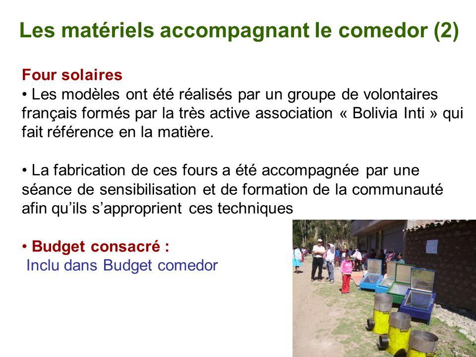 Les matériels accompagnant le comedor (2) Four solaires Les modèles ont été réalisés par un groupe de volontaires français formés par la très active a