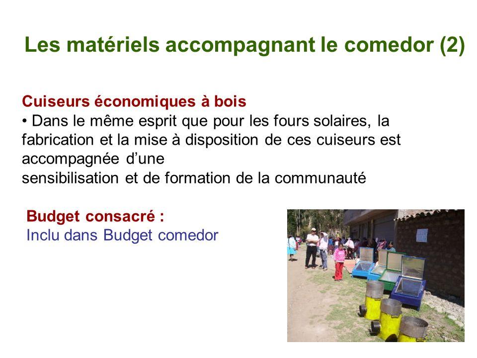 Les matériels accompagnant le comedor (2) Cuiseurs économiques à bois Dans le même esprit que pour les fours solaires, la fabrication et la mise à dis