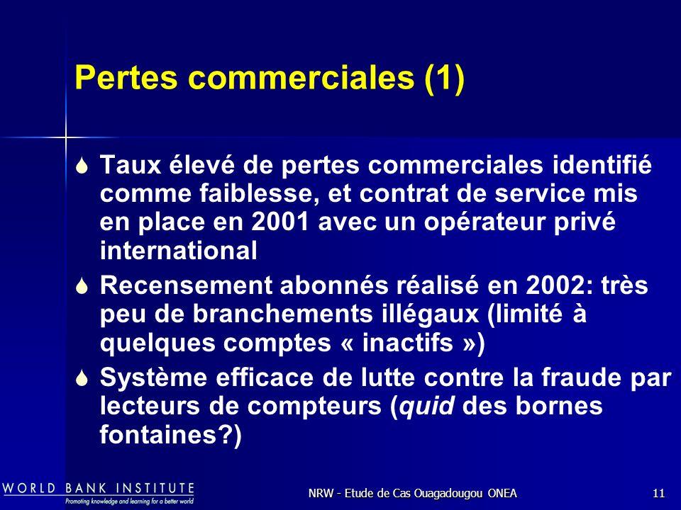 NRW - Etude de Cas Ouagadougou ONEA11 Pertes commerciales (1) Taux élevé de pertes commerciales identifié comme faiblesse, et contrat de service mis en place en 2001 avec un opérateur privé international Recensement abonnés réalisé en 2002: très peu de branchements illégaux (limité à quelques comptes « inactifs ») Système efficace de lutte contre la fraude par lecteurs de compteurs (quid des bornes fontaines?)