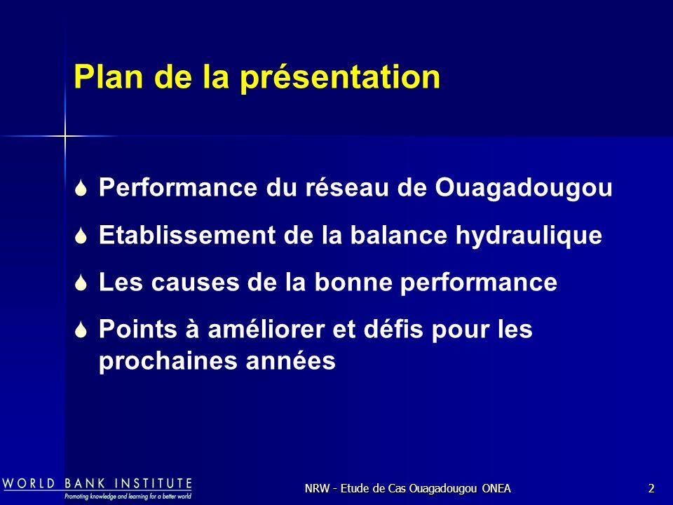 NRW - Etude de Cas Ouagadougou ONEA2 Plan de la présentation Performance du réseau de Ouagadougou Etablissement de la balance hydraulique Les causes de la bonne performance Points à améliorer et défis pour les prochaines années