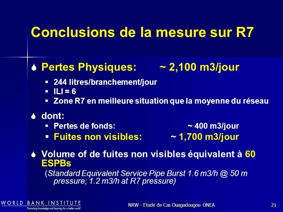 NRW - Etude de Cas Ouagadougou ONEA21 Conclusions de la mesure sur R7 Pertes Physiques: ~ 2,100 m3/jour 244 litres/branchement/jour ILI = 6 Zone R7 en meilleure situation que la moyenne du réseau dont: Pertes de fonds: ~ 400 m3/jour Fuites non visibles:~ 1,700 m3/jour Volume of de fuites non visibles équivalent à 60 ESPBs (Standard Equivalent Service Pipe Burst 1.6 m3/h @ 50 m pressure; 1.2 m3/h at R7 pressure)