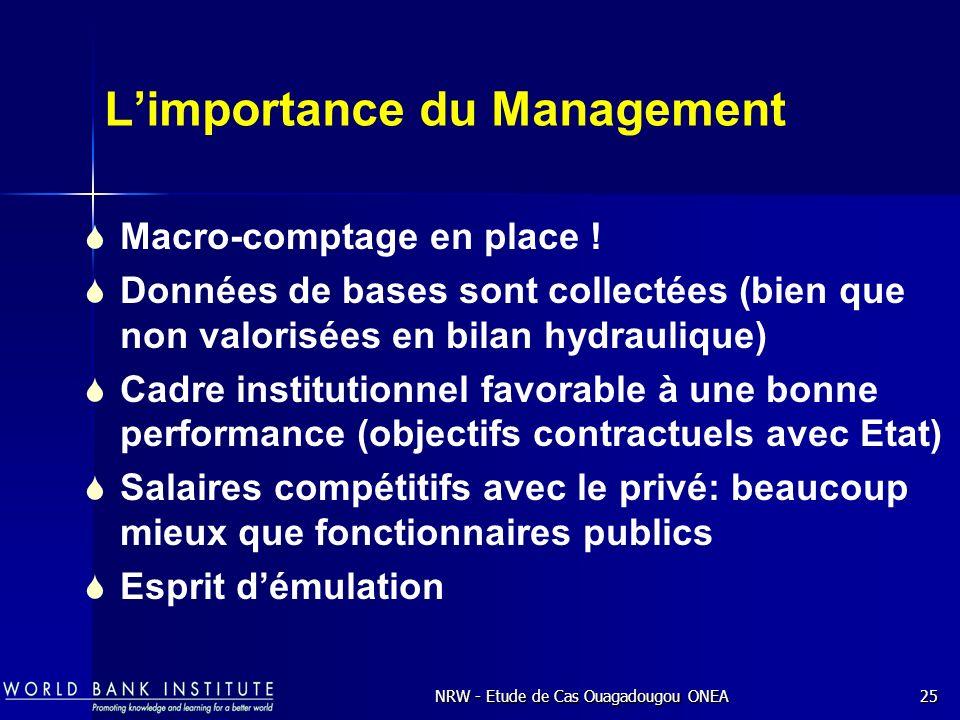 NRW - Etude de Cas Ouagadougou ONEA25 Limportance du Management Macro-comptage en place .
