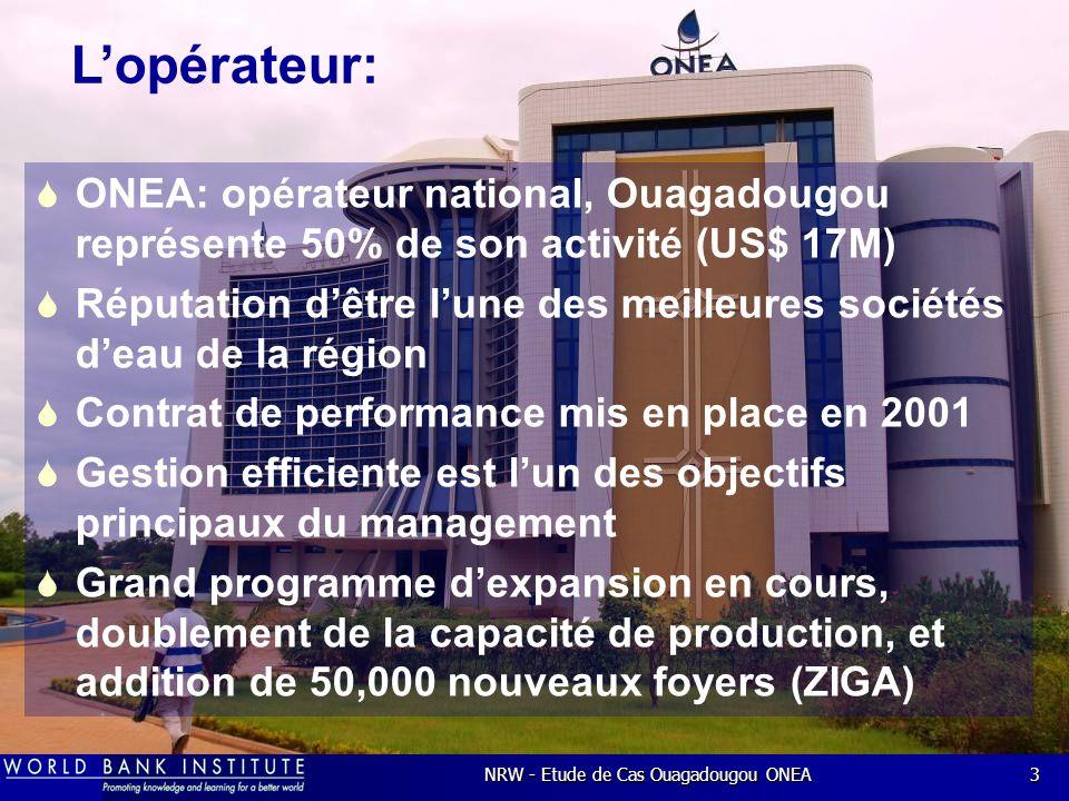 NRW - Etude de Cas Ouagadougou ONEA3 ONEA: opérateur national, Ouagadougou représente 50% de son activité (US$ 17M) Réputation dêtre lune des meilleures sociétés deau de la région Contrat de performance mis en place en 2001 Gestion efficiente est lun des objectifs principaux du management Grand programme dexpansion en cours, doublement de la capacité de production, et addition de 50,000 nouveaux foyers (ZIGA) Lopérateur: