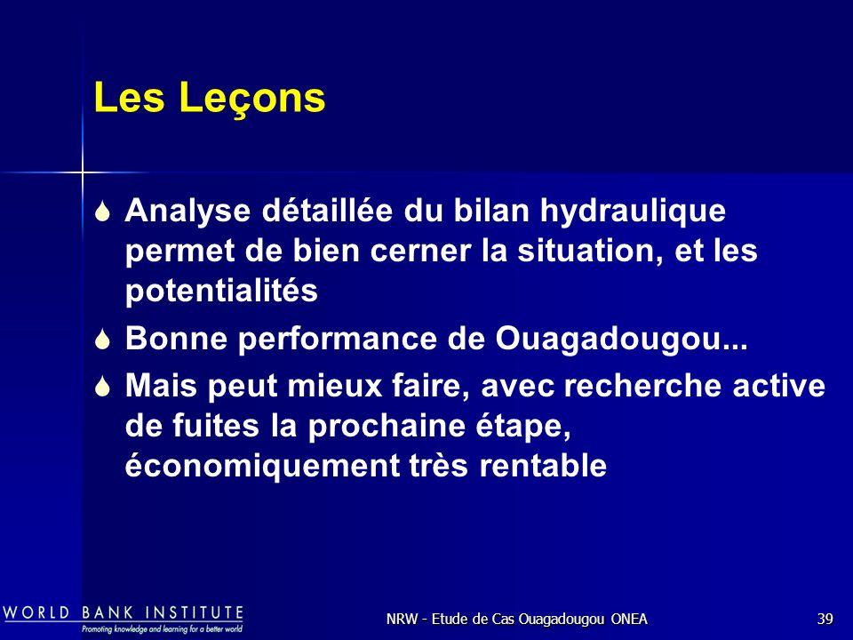 NRW - Etude de Cas Ouagadougou ONEA39 Les Leçons Analyse détaillée du bilan hydraulique permet de bien cerner la situation, et les potentialités Bonne performance de Ouagadougou...