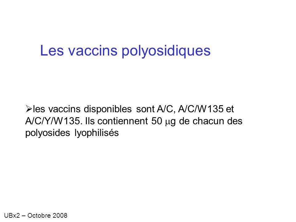 UBx2 – Octobre 2008 Les vaccins polyosidiques les vaccins disponibles sont A/C, A/C/W135 et A/C/Y/W135. Ils contiennent 50 g de chacun des polyosides