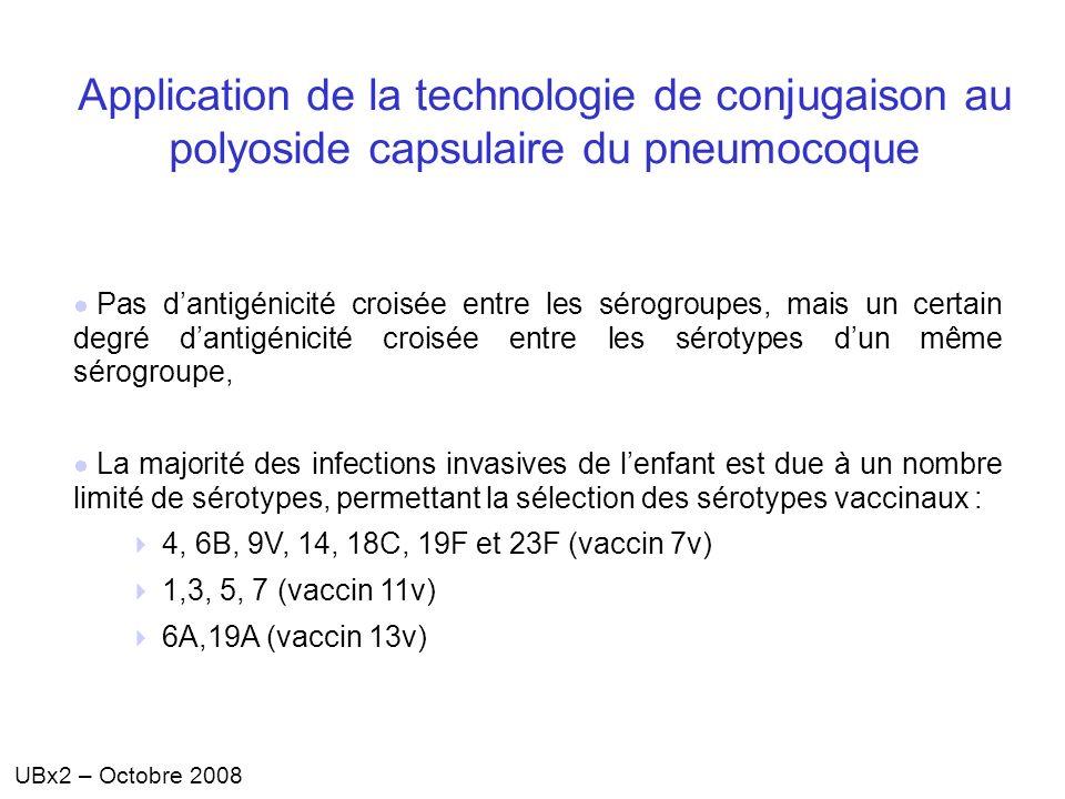 UBx2 – Octobre 2008 Application de la technologie de conjugaison au polyoside capsulaire du pneumocoque Pas dantigénicité croisée entre les sérogroupe