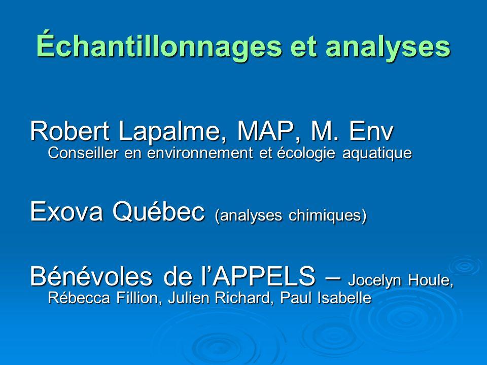 Échantillonnages et analyses Robert Lapalme, MAP, M. Env Conseiller en environnement et écologie aquatique Exova Québec (analyses chimiques) Bénévoles
