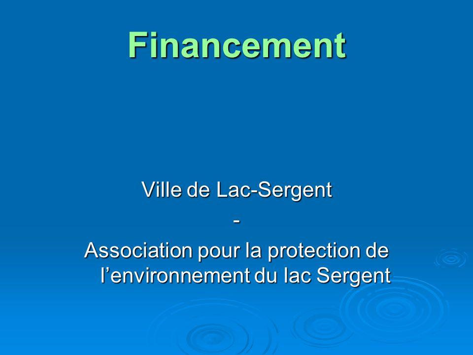 Financement Ville de Lac-Sergent - Association pour la protection de lenvironnement du lac Sergent