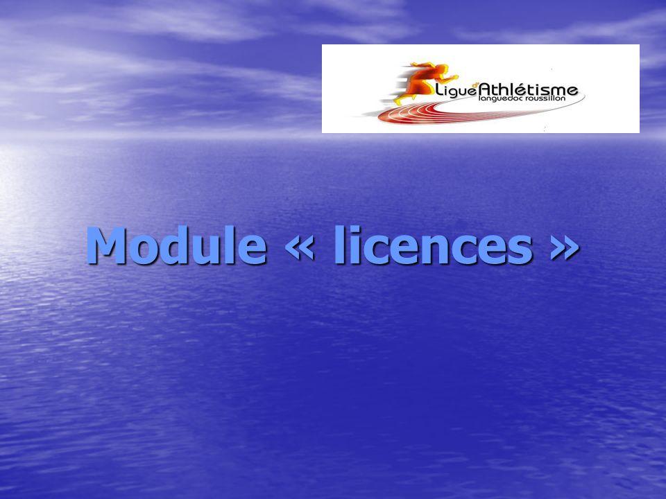 Module « licences »