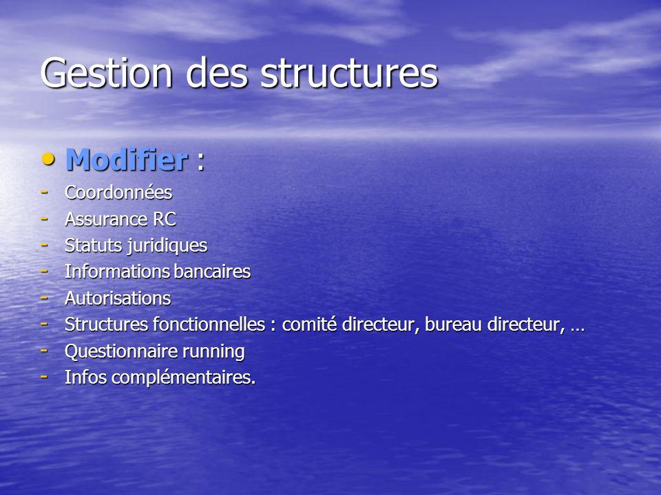 Gestion des structures Modifier : Modifier : - Coordonnées - Assurance RC - Statuts juridiques - Informations bancaires - Autorisations - Structures fonctionnelles : comité directeur, bureau directeur, … - Questionnaire running - Infos complémentaires.