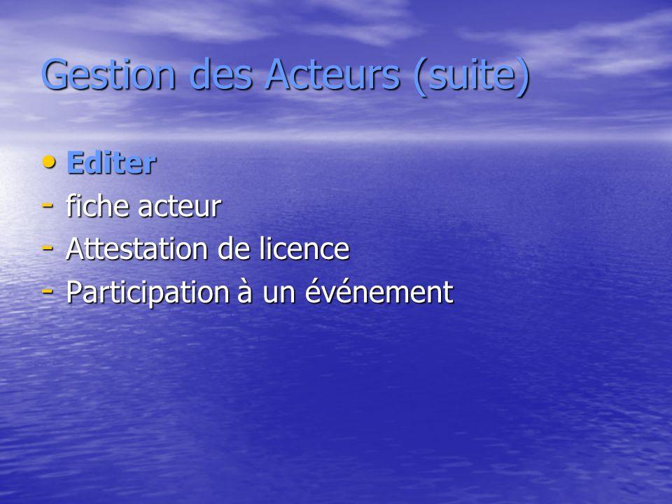 Gestion des Acteurs (suite) Editer Editer - fiche acteur - Attestation de licence - Participation à un événement