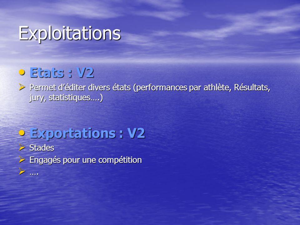 Exploitations Etats : V2 Etats : V2 Permet déditer divers états (performances par athlète, Résultats, jury, statistiques….) Permet déditer divers états (performances par athlète, Résultats, jury, statistiques….) Exportations : V2 Exportations : V2 Stades Stades Engagés pour une compétition Engagés pour une compétition ….
