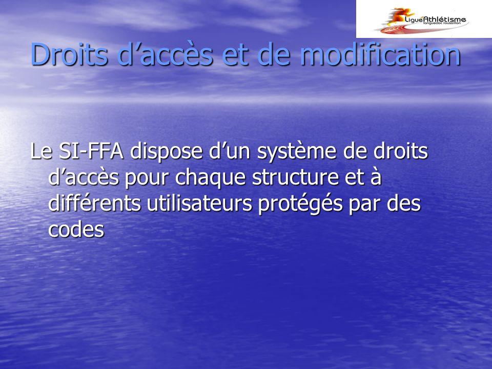 Droits daccès et de modification Le SI-FFA dispose dun système de droits daccès pour chaque structure et à différents utilisateurs protégés par des codes