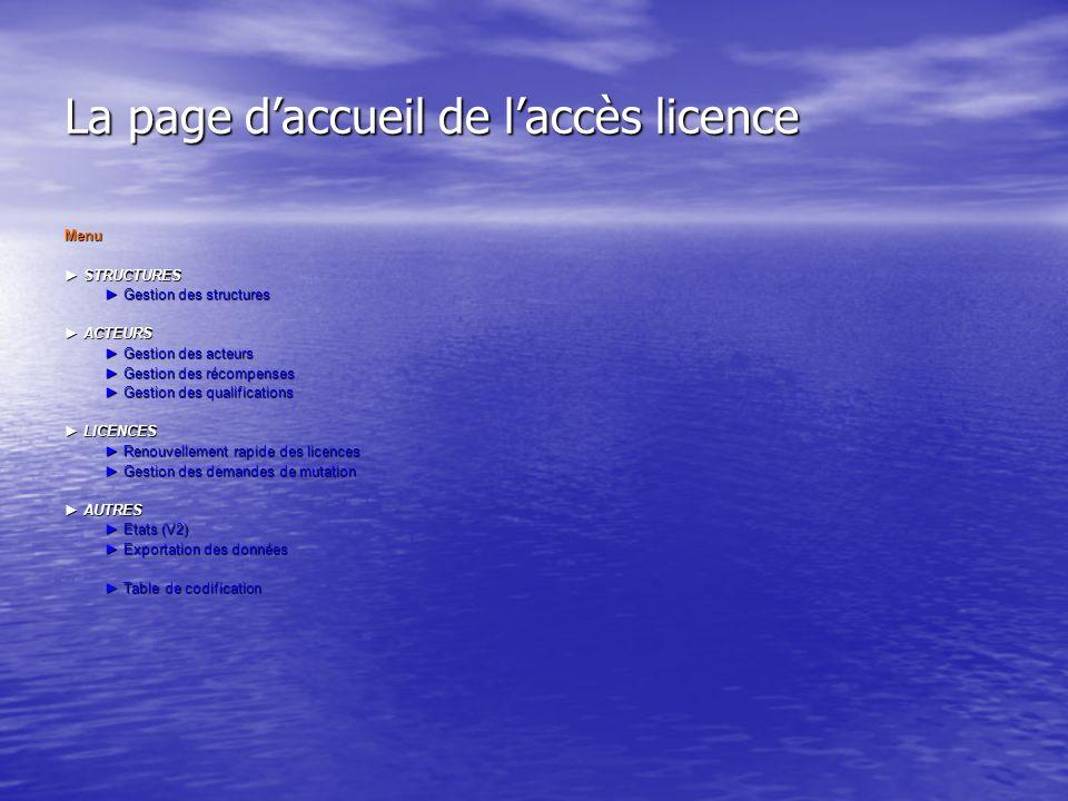 La page daccueil de laccès licence Menu STRUCTURES STRUCTURES Gestion des structures Gestion des structures ACTEURS ACTEURS Gestion des acteurs Gestio