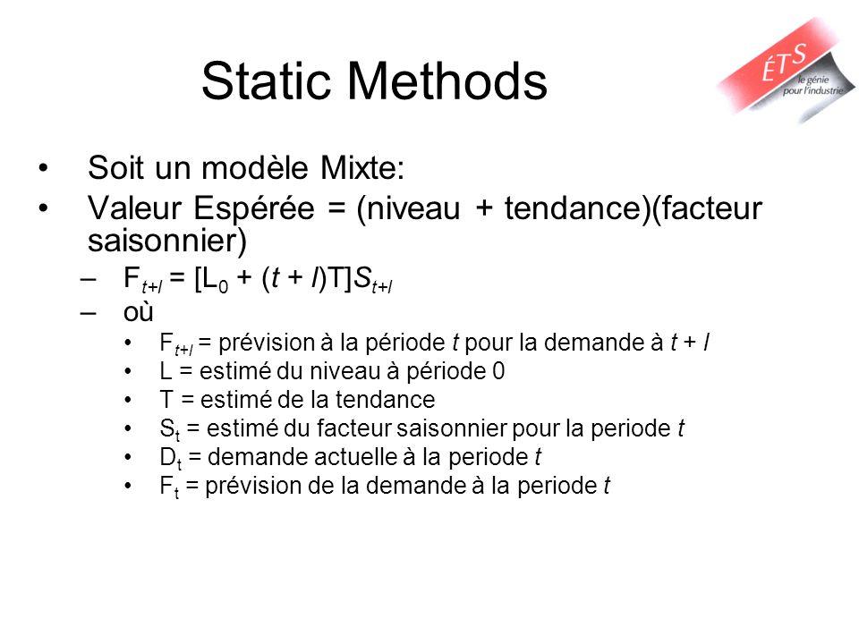 Static Methods Soit un modèle Mixte: Valeur Espérée = (niveau + tendance)(facteur saisonnier) –F t+l = [L 0 + (t + l)T]S t+l –où F t+l = prévision à l