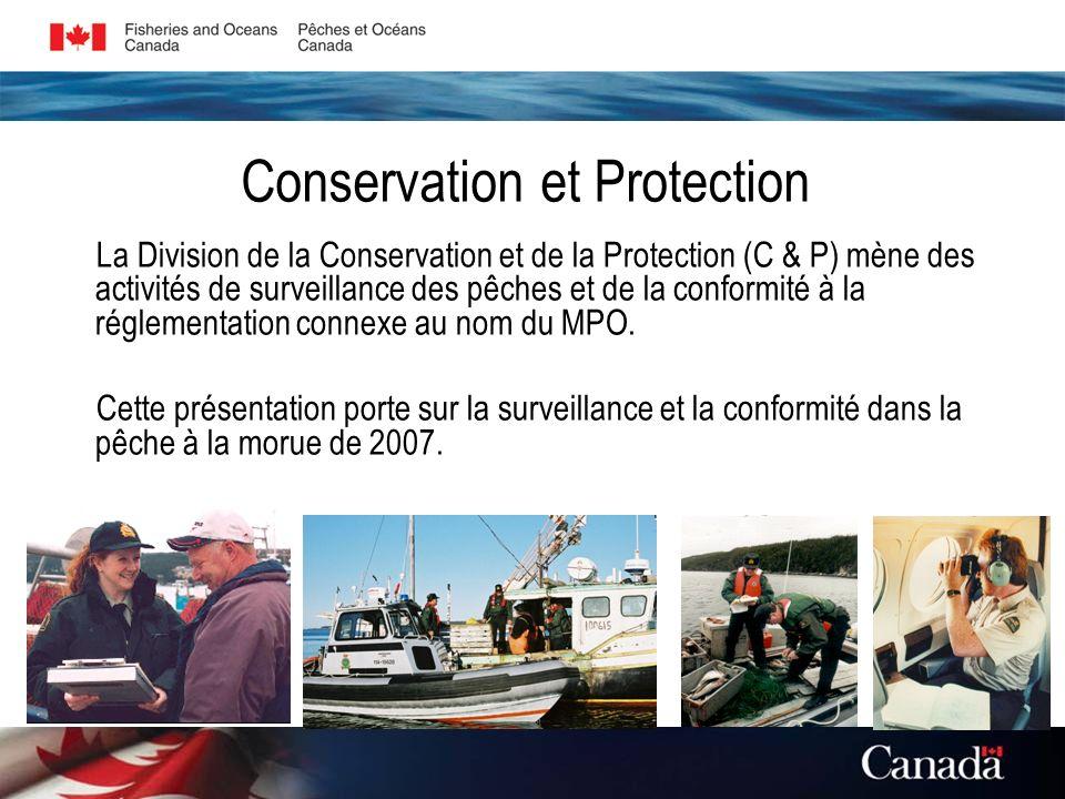 La Division de la Conservation et de la Protection (C & P) mène des activités de surveillance des pêches et de la conformité à la réglementation connexe au nom du MPO.