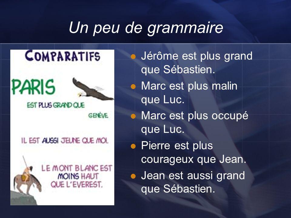 Un peu de grammaire Jérôme est plus grand que Sébastien. Marc est plus malin que Luc. Marc est plus occupé que Luc. Pierre est plus courageux que Jean