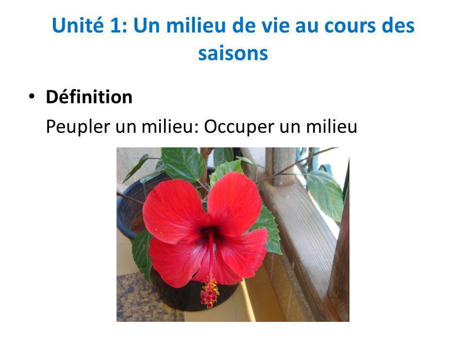 Unité 1: Un milieu de vie au cours des saisons Définition Peupler un milieu: Occuper un milieu