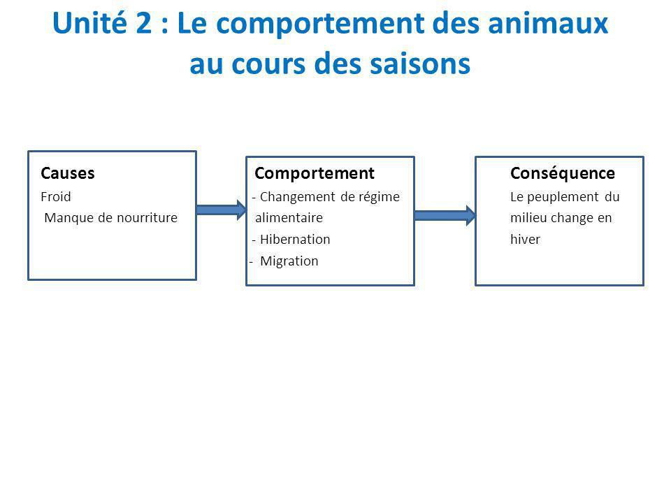 Unité 2 : Le comportement des animaux au cours des saisons Causes ComportementConséquence Froid - Changement de régimeLe peuplement du Manque de nourr