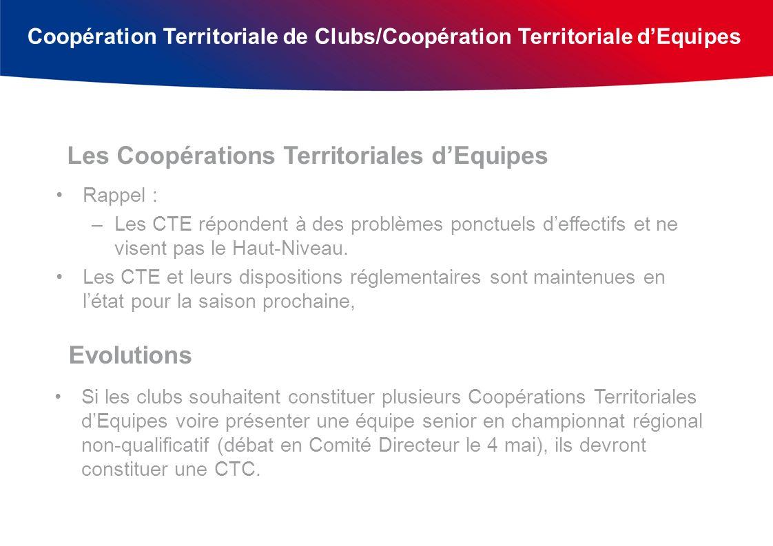 Coopération Territoriale de Clubs/Coopération Territoriale dEquipes Rappel : –Les CTE répondent à des problèmes ponctuels deffectifs et ne visent pas le Haut-Niveau.