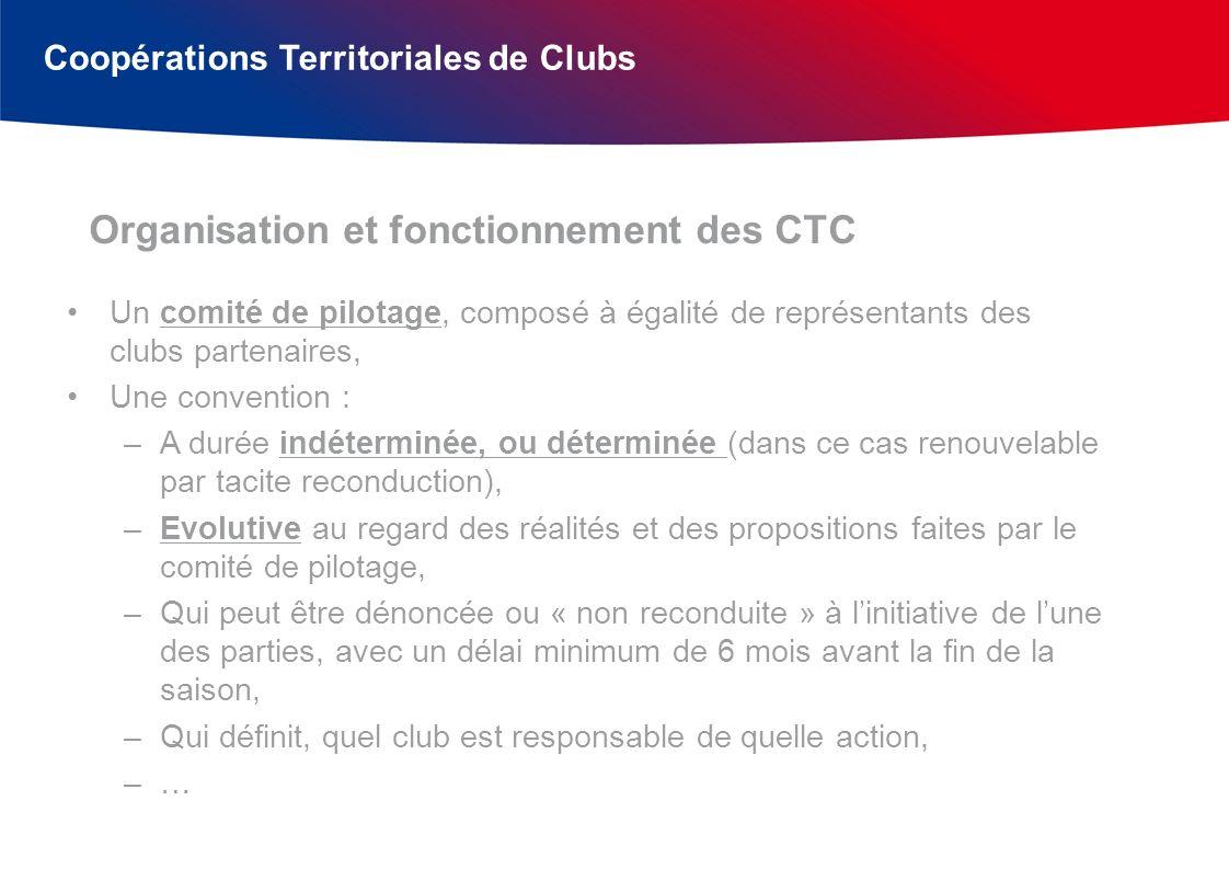 Coopérations Territoriales de Clubs Fournir des documents de référence (règlements, modèles de conventions,…), Conseiller les parties prenantes (si besoin), Homologuer les CTC qui remplissent les conditions et le souhaitent, et leur faire bénéficier de dispositions réglementaires particulières.