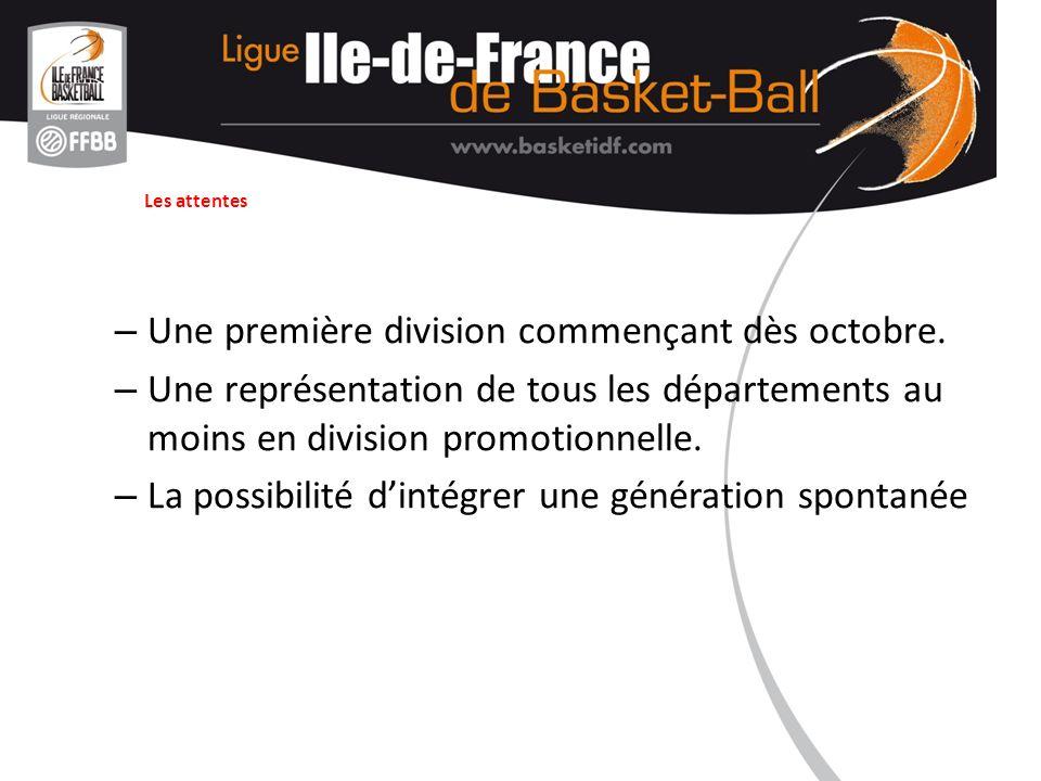 Les attentes – Une première division commençant dès octobre. – Une représentation de tous les départements au moins en division promotionnelle. – La p