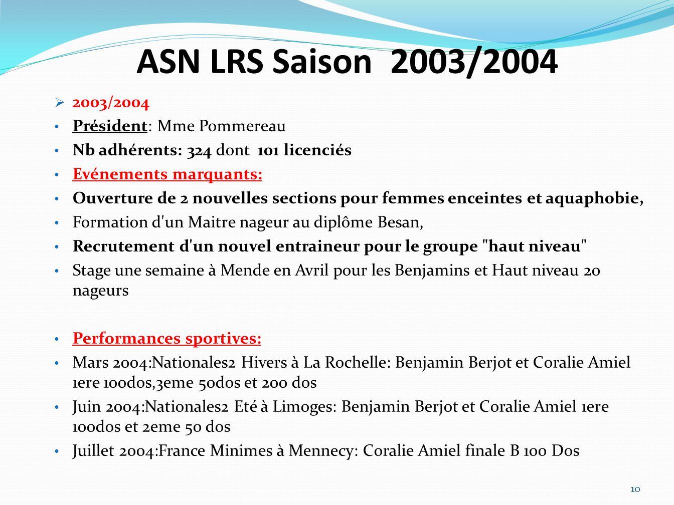 ASN LRS Saison 2003/2004 2003/2004 Président: Mme Pommereau Nb adhérents: 324 dont 101 licenciés Evénements marquants: Ouverture de 2 nouvelles sectio