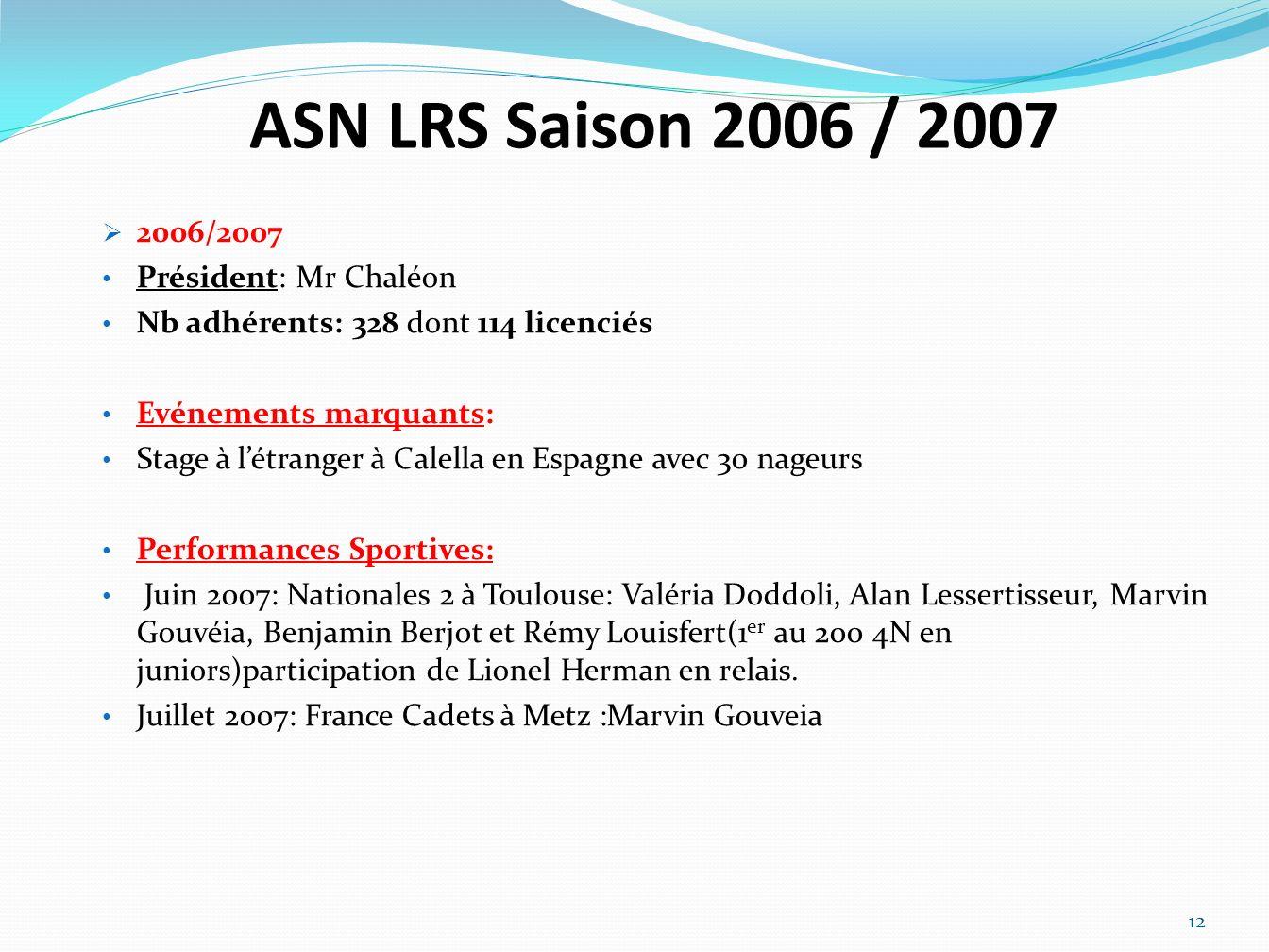 ASN LRS Saison 2006 / 2007 2006/2007 Président: Mr Chaléon Nb adhérents: 328 dont 114 licenciés Evénements marquants: Stage à létranger à Calella en E