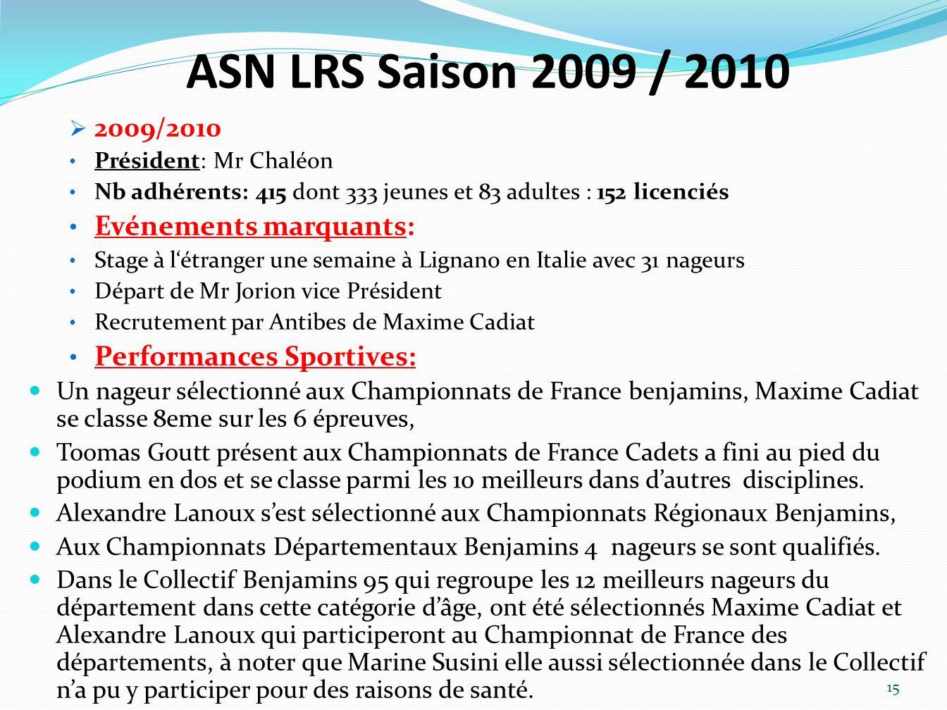 ASN LRS Saison 2009 / 2010 2009/2010 Président: Mr Chaléon Nb adhérents: 415 dont 333 jeunes et 83 adultes : 152 licenciés Evénements marquants: Stage