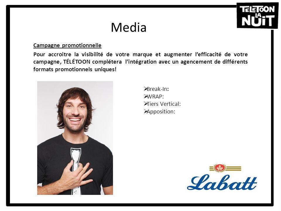 Media Campagne promotionnelle Pour accroitre la visibilité de votre marque et augmenter lefficacité de votre campagne, TÉLÉTOON complétera lintégratio